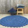 Jute Crochet Floor Rug Indigo