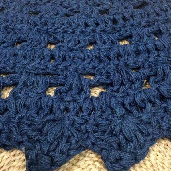 Jute Crochet Floor Rug Indigo detail