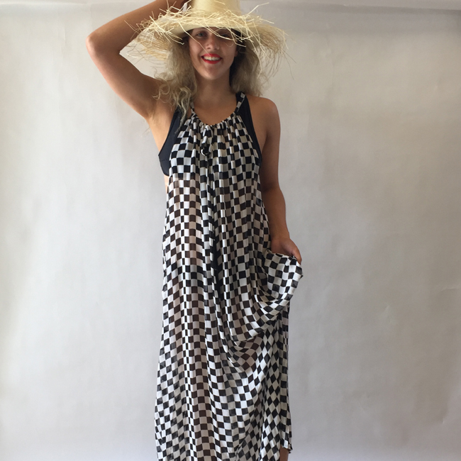 Maxi Dress B&W Check