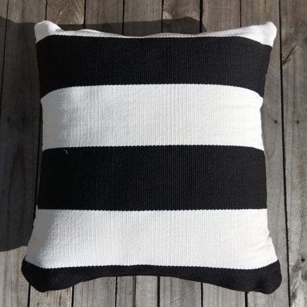 Outdoor Cushion Cover - B&W Deck Stripe 60cm