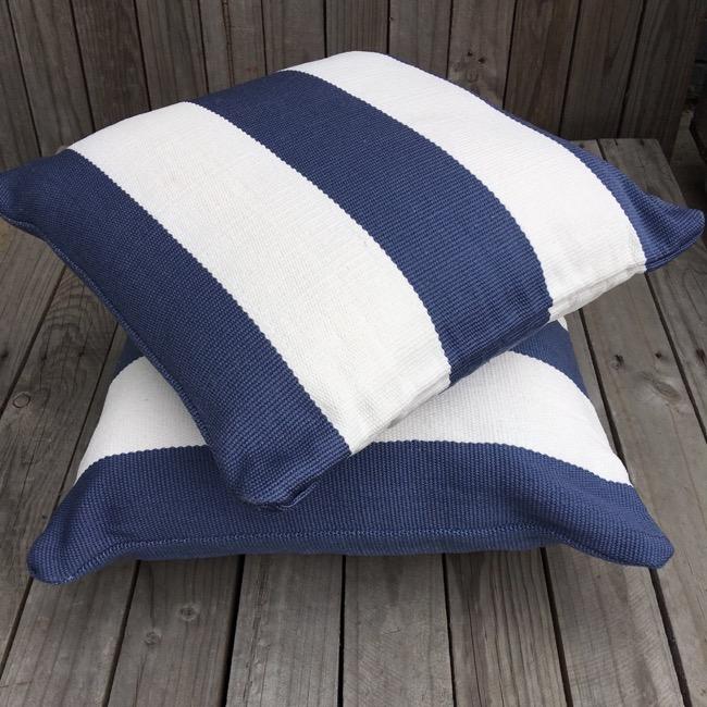 Outdoor Cushion Cover - Denim Deck Stripe 50cm