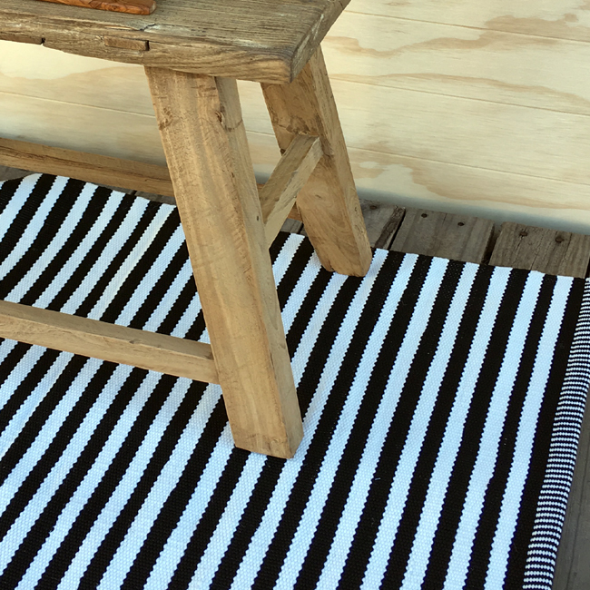 Outdoor Floor Mat - B&W Jetty Stripe2