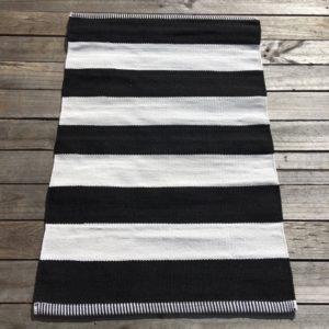 Outdoor Floor Mat - Black White Deck Stripe