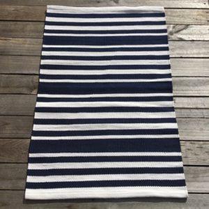 Outdoor Floor Mat - Navy White Hampton Stripe