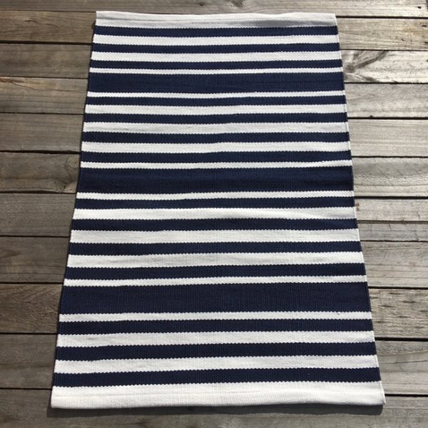 Outdoor Floor Mat - Navy White Hampton Stripe
