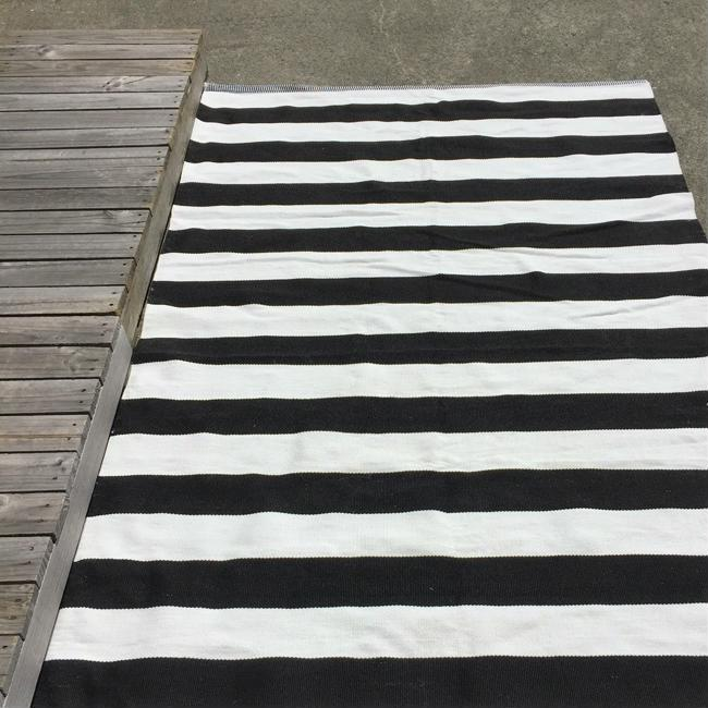 Outdoor Floor Rug - Black White Deck Stripe
