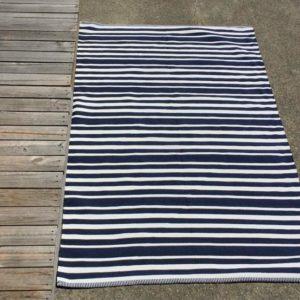 Outdoor Floor Rug - Navy White Hampton Stripe