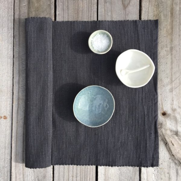 Placemat Cotton Rib Charcoal