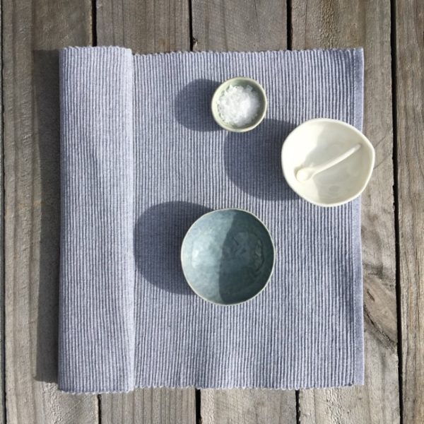 Placemat Cotton Rib Grey Marle