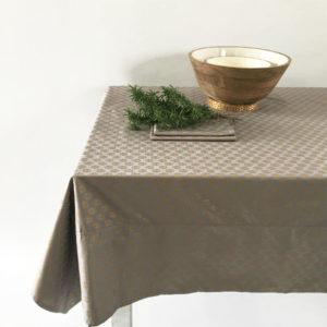 Table Cloth BlockPrint GreyGold