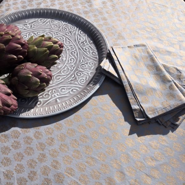 Table Cloth BlockPrint GreyGold