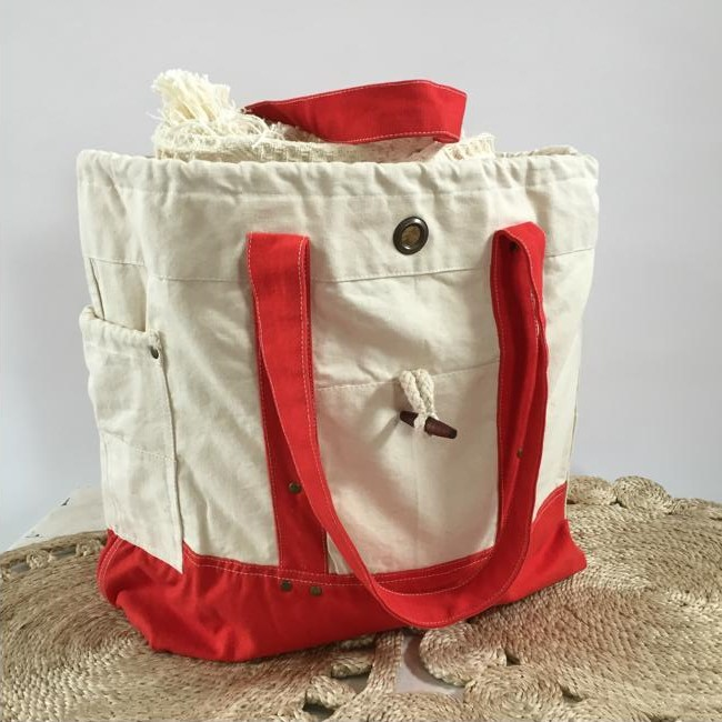 canvas bag natural red