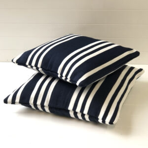Navy/white Hampton Stripe Outdoor Cushion Cover