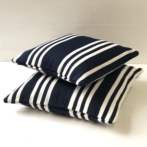 Navy/white Hampton Stripe Outdoor Cushion Cover