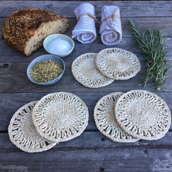 jute coaster set plantation natural