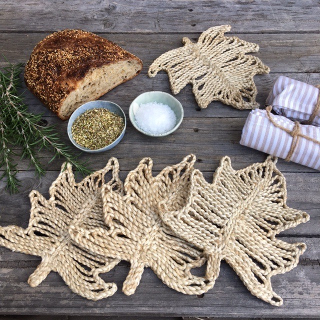 jute trivet set palm natural