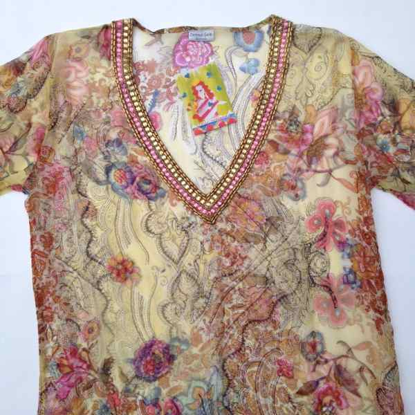 kurta beaded chiffon gold floral