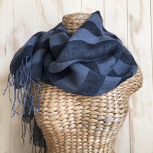 scarf linen dark blue stripe