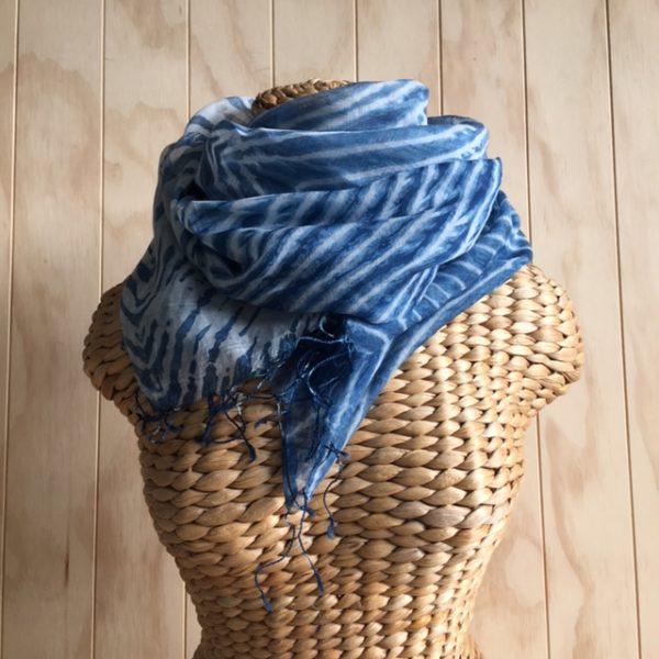 scarf silk cotton tie dye indigo zig zag