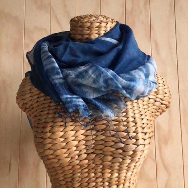 scarf silk cotton tye dye indigo