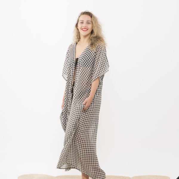 tie wrap dress houndstooth
