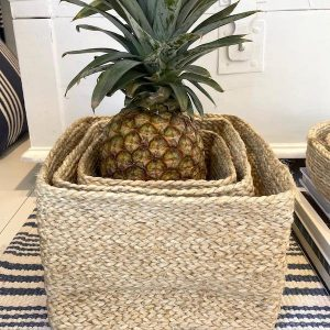 Jute square basket set of 3