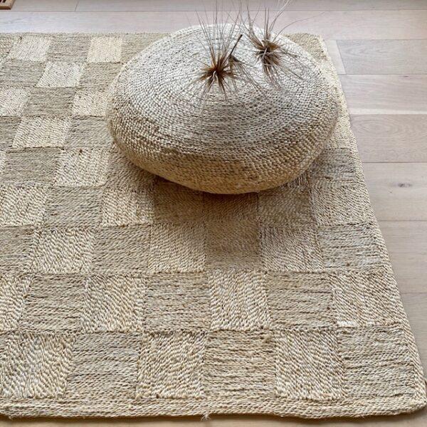 Handmade Jute Square Check Floor Mat/Rug