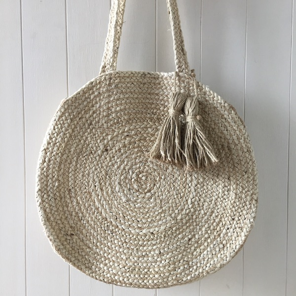 Round Hemp Shopping Bag with handle