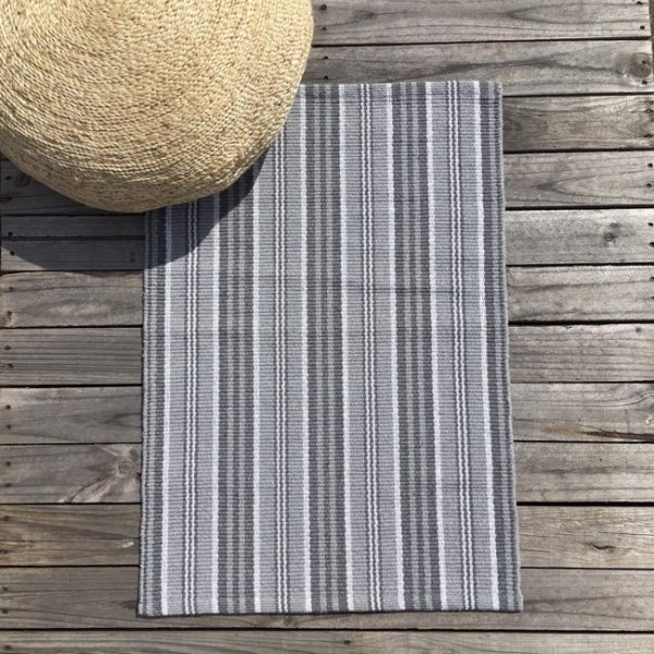 Cotton Mat - Multi Charcoal Stripe