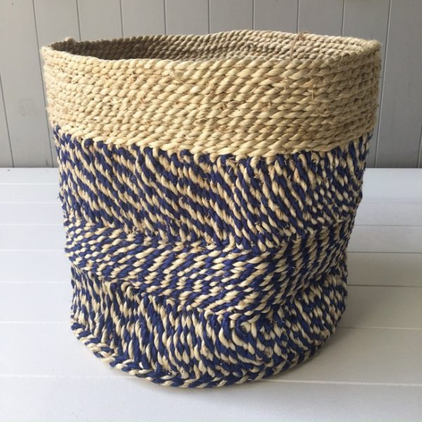 Jute Basket - Indigo & Natural