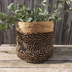 Jute Storage Basket - Black & Natural