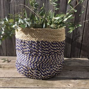 Jute Storage Basket - Indigo & Natural