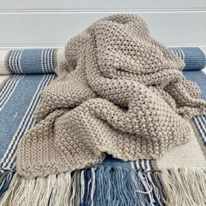 Handknit Moss Stitch Taupe Throw