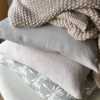 Linen, Pearl Knit & Date Palm Cushion Cover - Cool Grey