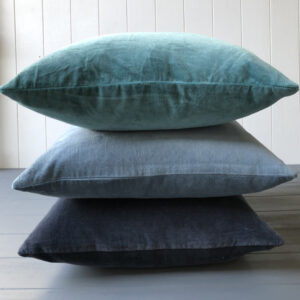Velvet Cushion Cover - Midnight, Teal & Ice Blue