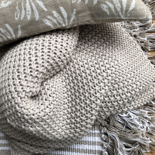 Hand Knit Cotton Throw - Taupe Moss Stitch