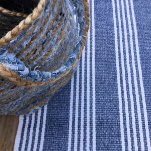 recycle cotton durban dark denim mat/rug
