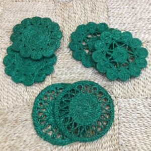 Handmade Jute Green Coaster set