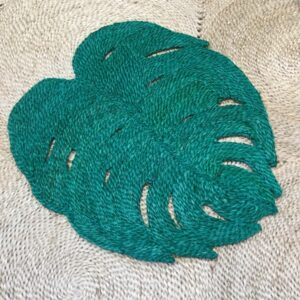 Large green jute place mat