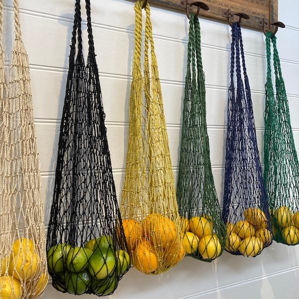 Handmade Jute String Bags - Indigo, Black, Yellow, Green , Natural