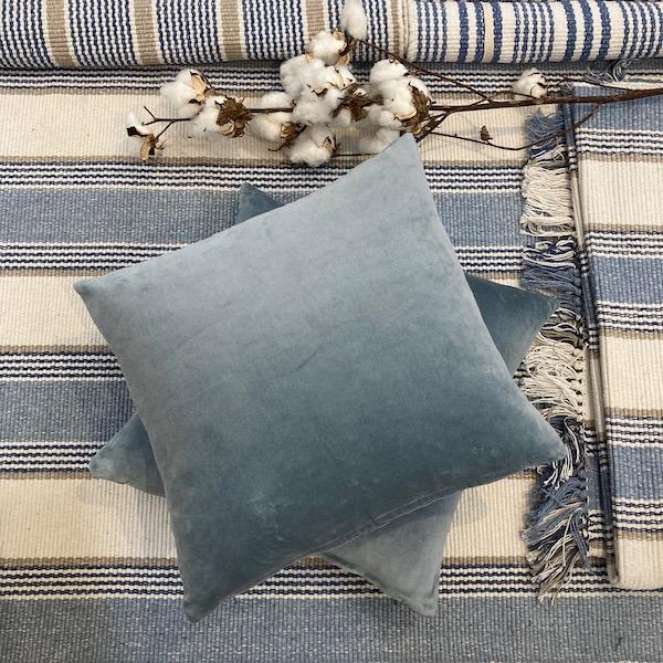 Ice Blue Velvet Cushion Cover