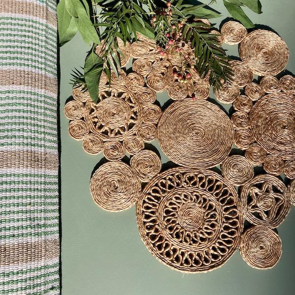Handmade Jute Flower Place Mat 45cm - Spice