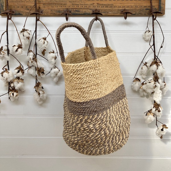 Handmade Jute Storage Basket 45cm - Grey/Natural
