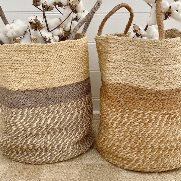 Handmade Jute Storage Basket 45cm - Grey/Natural & Spice/Natural