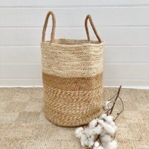 Handmade Jute Storage Basket 45cm - Spice/Natural