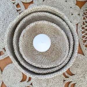 Jute Storage Basket Set small round - Natural. Set of 3