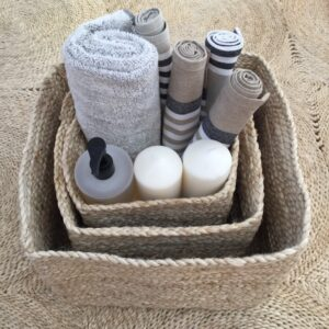 Jute Storage Basket Set square - Natural. Set of 3