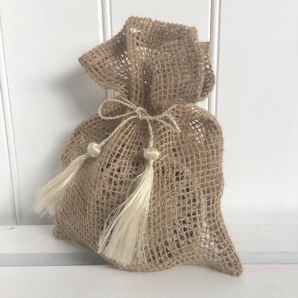 Handmade Jute Natural Small Net Gift Bag with Tassels