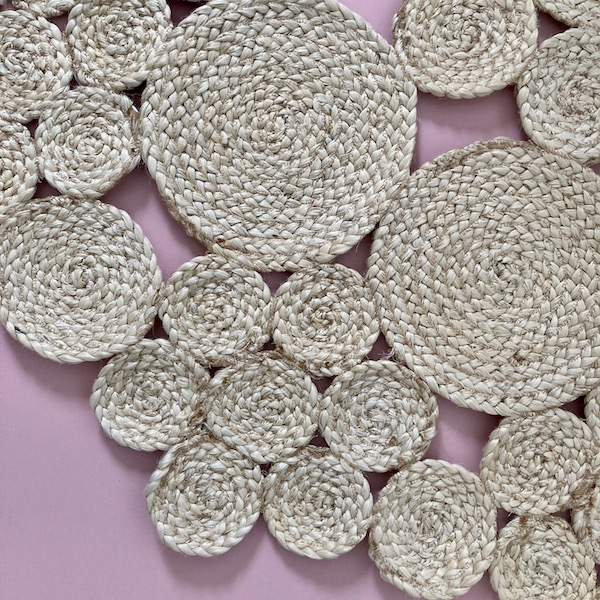 Jute Floor Rug Braided Circles - Natural