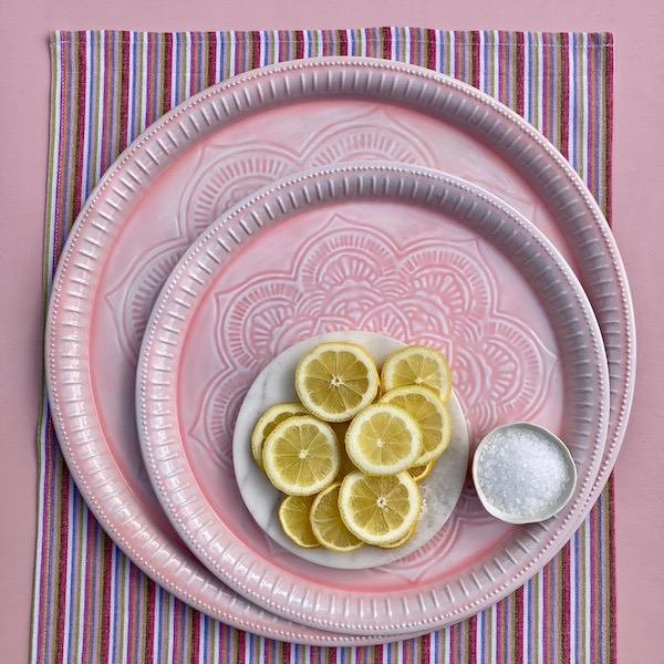Tray Set Embossed Metal BOHO - Soft Pink